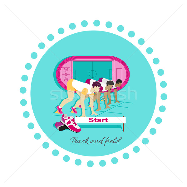 Track and Field Icon Flat Design Stock photo © robuart
