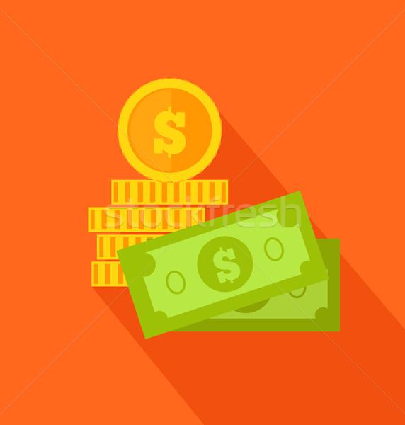 Foto stock: Moedas · notas · projeto · dólar · dinheiro · ícone