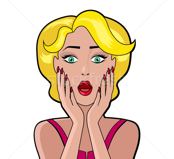 Stockfoto: Cartoon · aantrekkelijke · vrouw · bubble · wow · gezicht · meisje