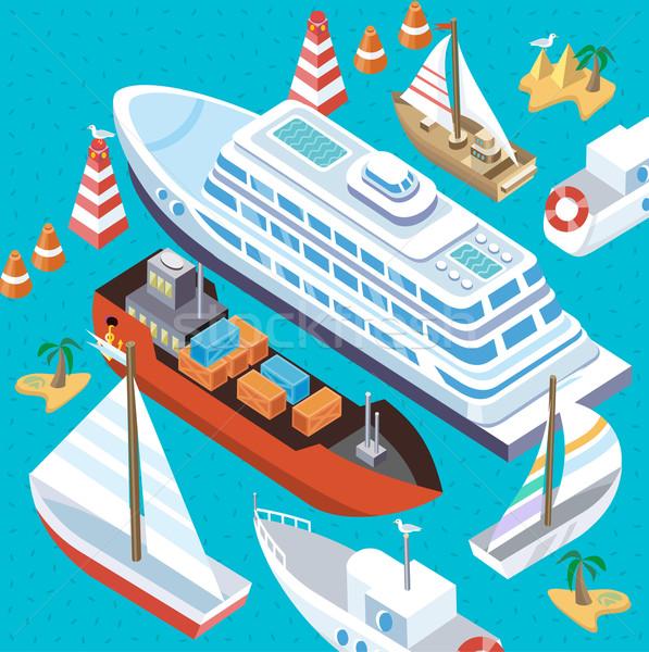 Isométrica conjunto navios mar transporte 3D Foto stock © robuart