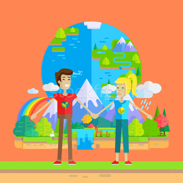 Earth Day Celebrating Concept Vector Illustration. Stock photo © robuart