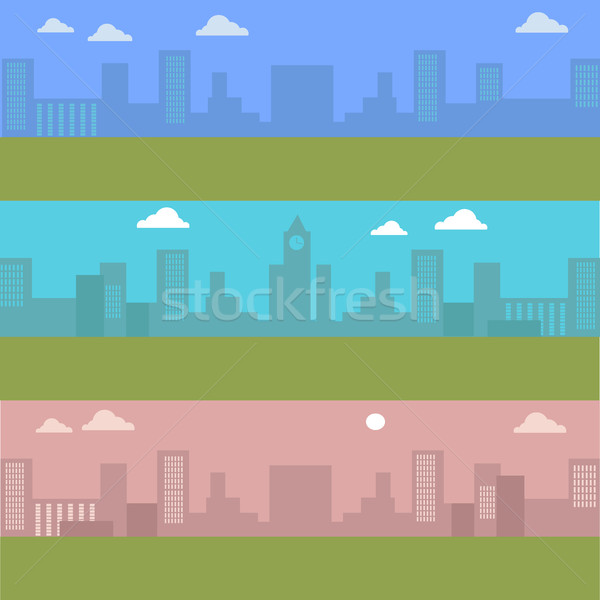 Set of Urban Cityscape. Silhouettes of Buildings. Stock photo © robuart