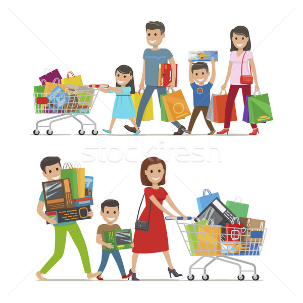 Two Walking and Smiling Families with Purchases Stock photo © robuart