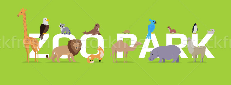 Zoo Park Conceptual Flat Style Vector Web Banner  Stock photo © robuart