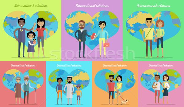 Międzynarodowych kontakty banery zestaw ludzi świecie Zdjęcia stock © robuart