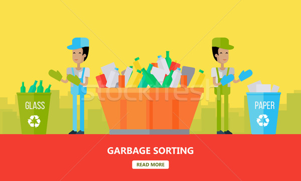 Garbage Sorting Banner. Men Sort Glass and Paper. Stock photo © robuart