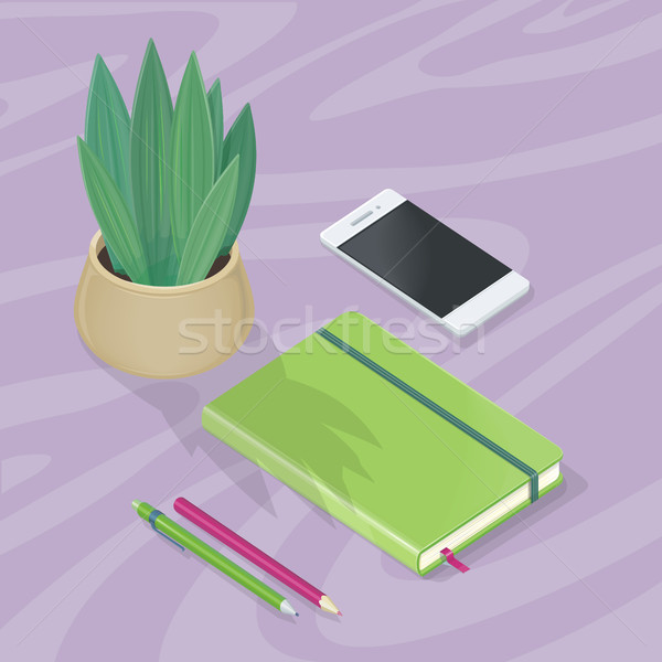 Desk with Mobile Phone, Pencils, Plant, Note Book Stock photo © robuart