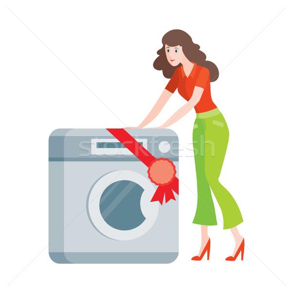 Nő mosógép stílus izolált vásár háztartás Stock fotó © robuart