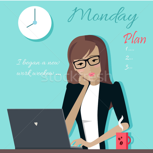 Monday. Woman Planning her Work for a Week. Stock photo © robuart
