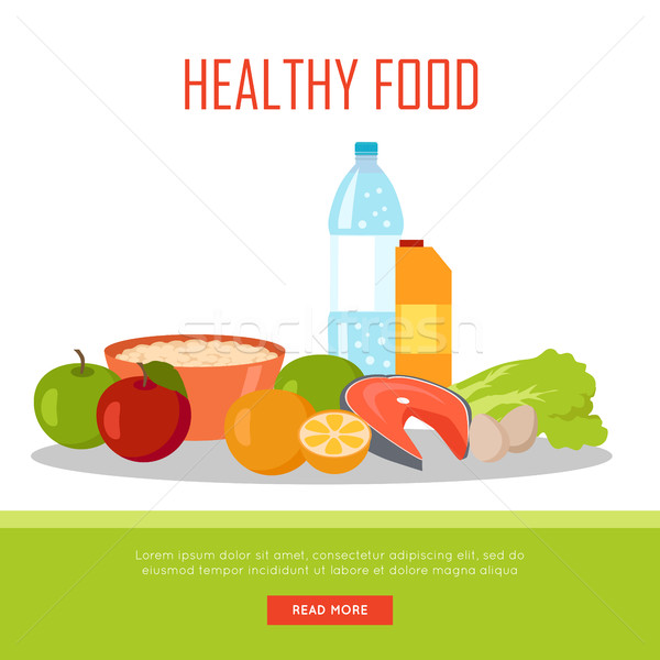 Healthy Food Banner Isolated on White Background. Stock photo © robuart