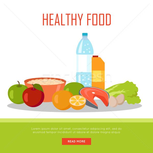 Alimentos saludables banner aislado blanco orgánico naturales Foto stock © robuart