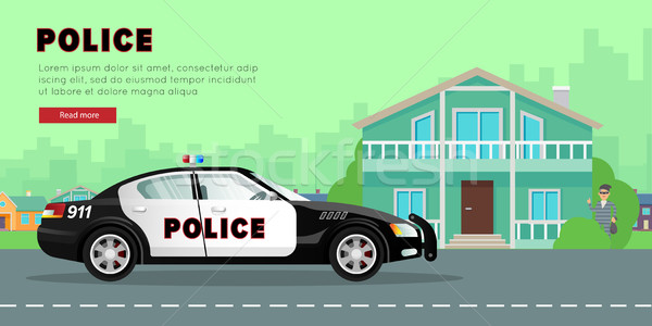 Polis araba sokak banka soyguncu sürücü Stok fotoğraf © robuart
