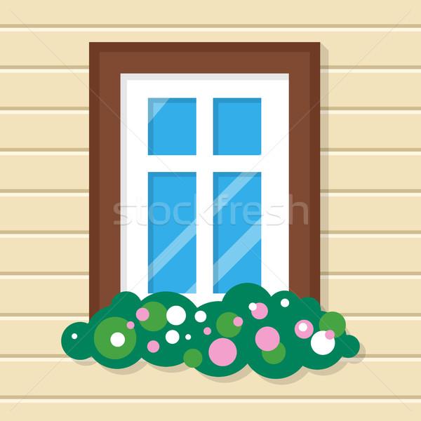 Fenêtre fleurs maison vue sur la rue mur plastique Photo stock © robuart