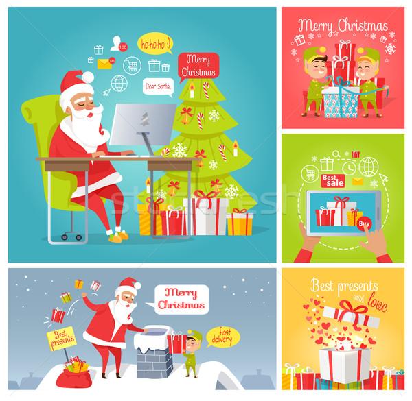 Foto stock: Alegre · Navidad · rápido · entrega · presenta