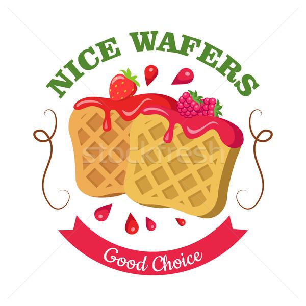 Nice Wafers. Good Choice. Belgian Waffle with Jam Stock photo © robuart