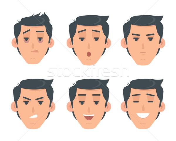 Adam yüz duygusal vektör simgesi stil ayarlamak Stok fotoğraf © robuart