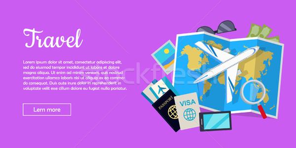 путешествия стиль вектора веб баннер самолета Сток-фото © robuart