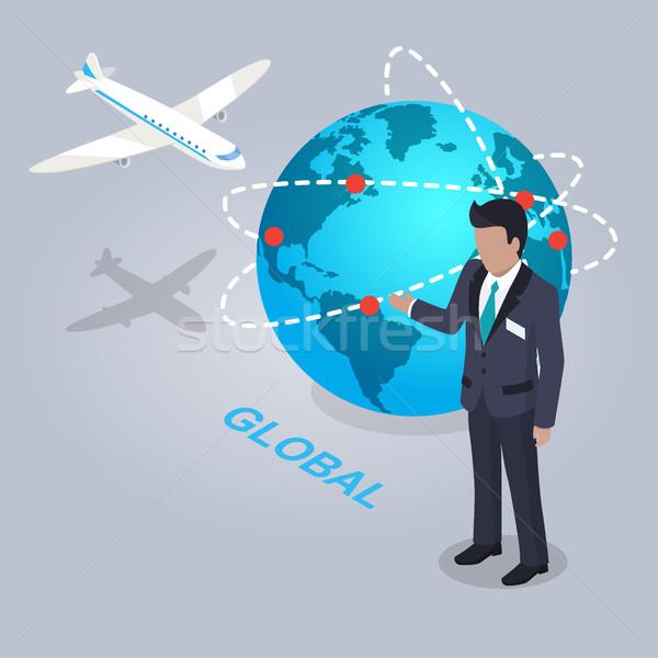 Globalny elektronicznej commerce biznesmen projektu szary Zdjęcia stock © robuart