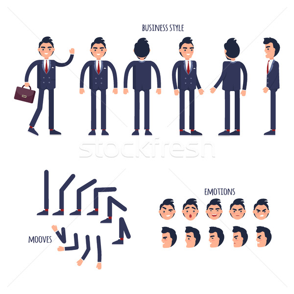 Set of Business Style, Face Emotions, Moves Flat Stock photo © robuart