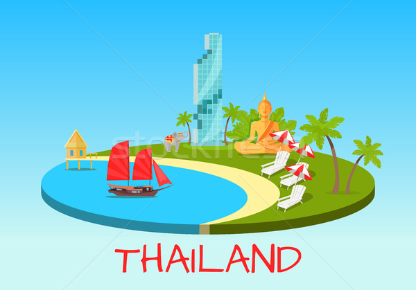 Thailand Touristic Concept with National Symbols Stock photo © robuart