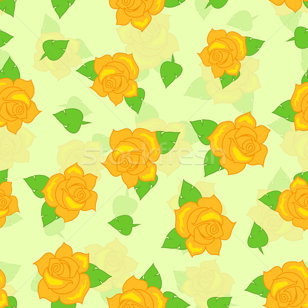 Yellow Rose with Green Leaf Seamless Pattern Stock photo © robuart