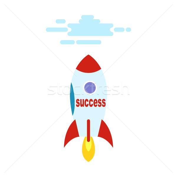 Başarı form roket düz cennet karikatür Stok fotoğraf © robuart