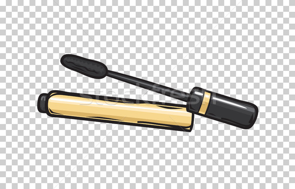 Black Mascara in Gold Tube Isolated Illustration Stock photo © robuart