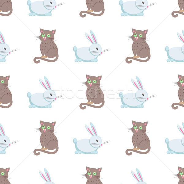 Cute Rabbits and Cat Flat Vector Seamless Pattern Stock photo © robuart