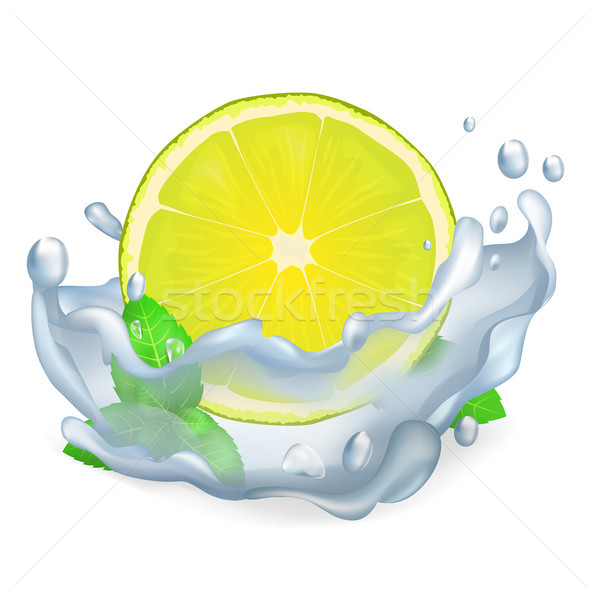 Stock photo: Juicy Lemon or Lime and Leaves of Peppermint Icon