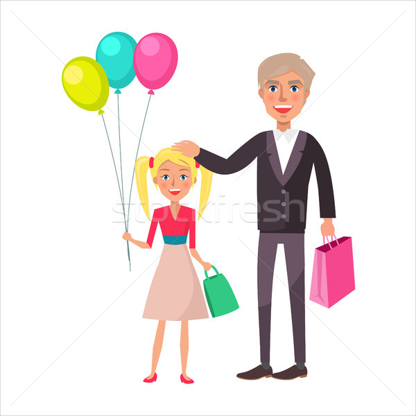Nagyapa leányunoka ünnepel ünnep szőke apa Stock fotó © robuart