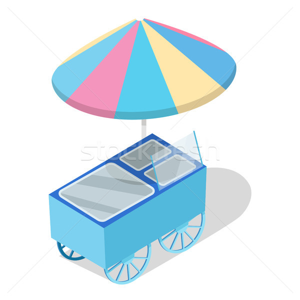 Street Cart Store with Freezer Isometric Vector Stock photo © robuart