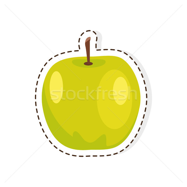 Groene appel vector geïsoleerd sticker icon Stockfoto © robuart