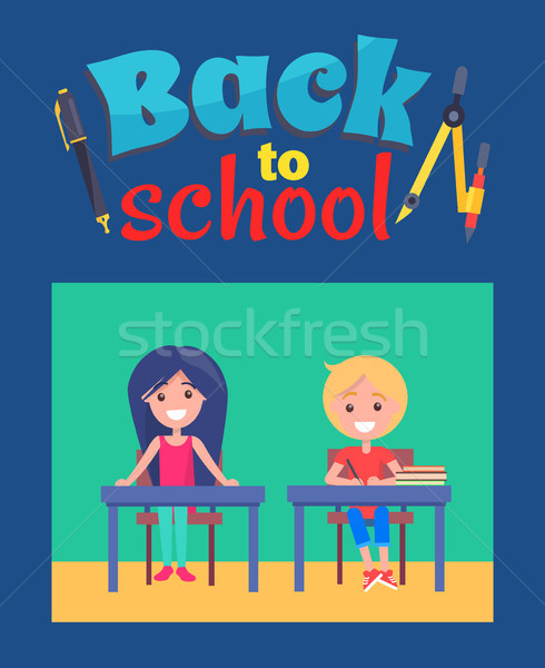Back to School Poster with Inscription and Divider Stock photo © robuart