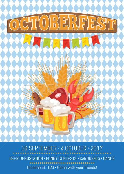 Oktoberfest promóciós poszter vektor promo kockás Stock fotó © robuart