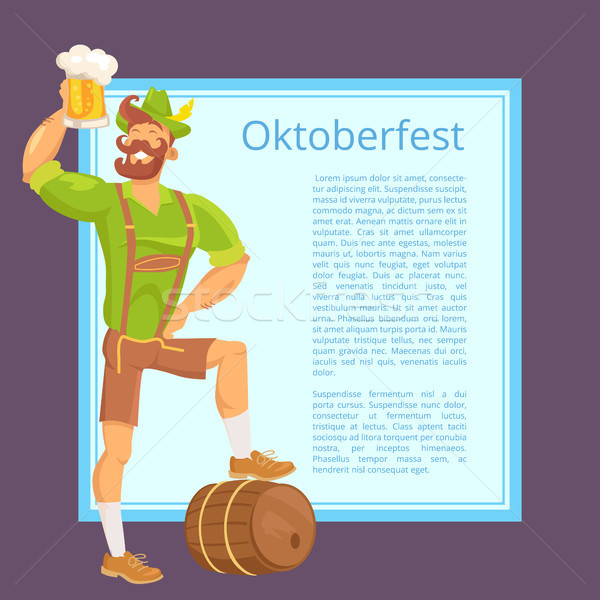 Oktoberfest Poster Depicting Bearded Man with Mug Stock photo © robuart