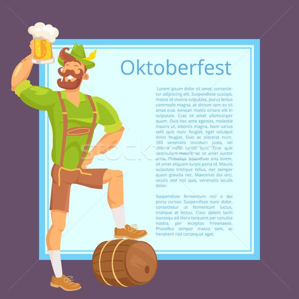 Oktoberfest Plakat bärtigen Mann mug Text Stock foto © robuart