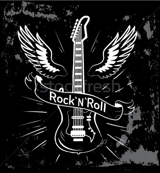 Rock n roll Guitar and Wings Vector Illustration Stock photo © robuart