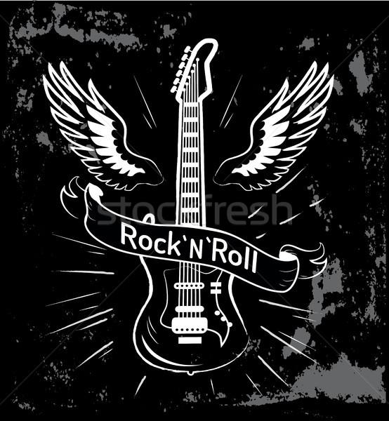 Rock rodar guitarra alas escrito cinta Foto stock © robuart
