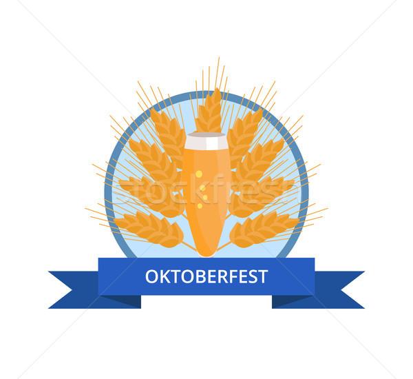 Oktoberfest logo üveg sör fül fülek Stock fotó © robuart