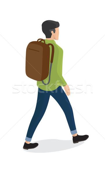 человека рубашку синий брюки рюкзак вид сзади Сток-фото © robuart
