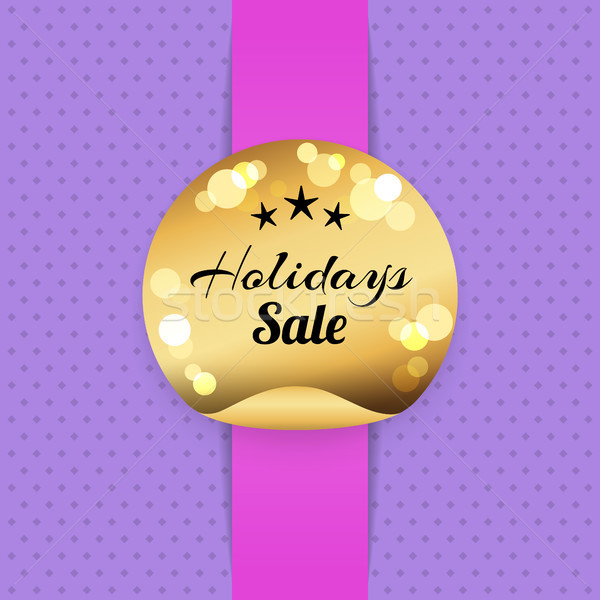 Holiday Sale Golden Label with Stars, Best Prices Stock photo © robuart