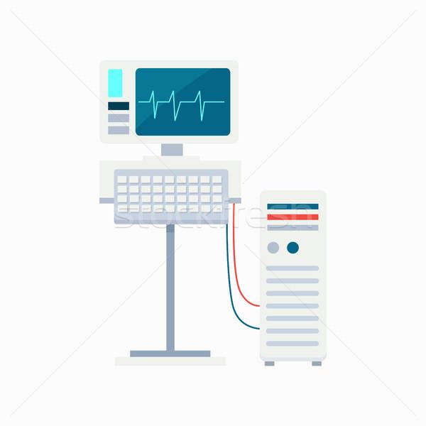 心電図 モニター キーボード コンピュータ 心電図 ストックフォト © robuart