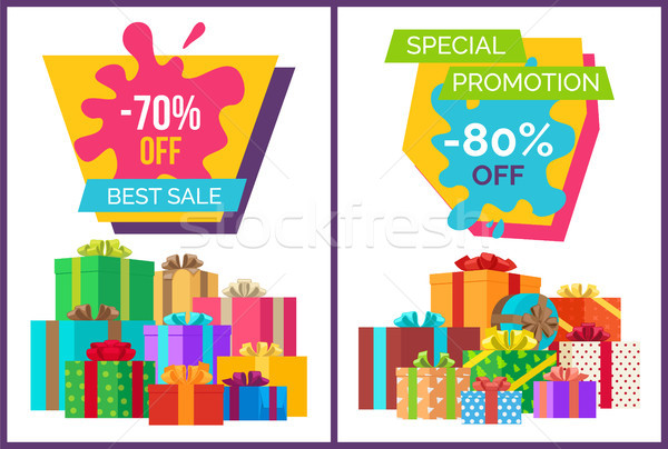 Legjobb vásár promóciós poszter ajándék dobozok Stock fotó © robuart
