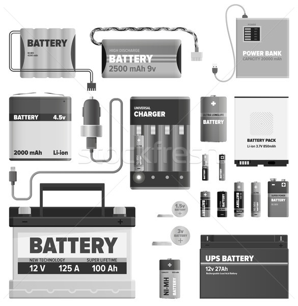 Black and White Powerful Batteries Collection Stock photo © robuart