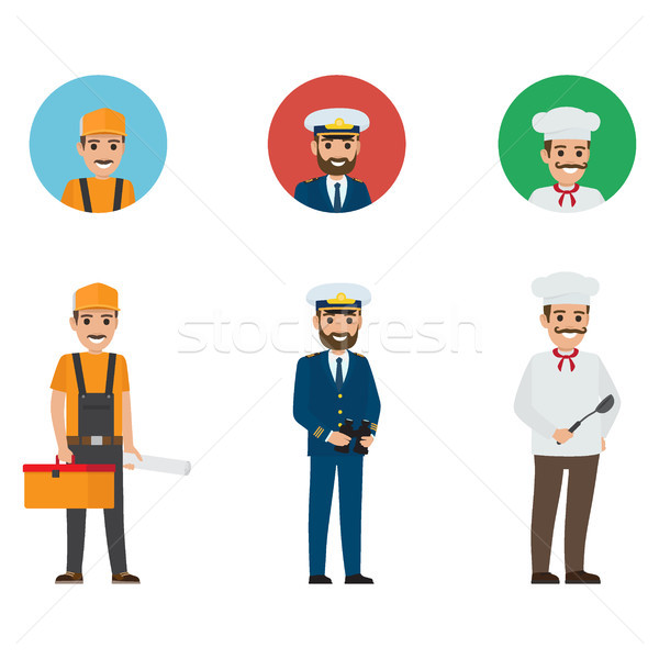 Set of Three Professions. Builder, Mariner, Chief Stock photo © robuart