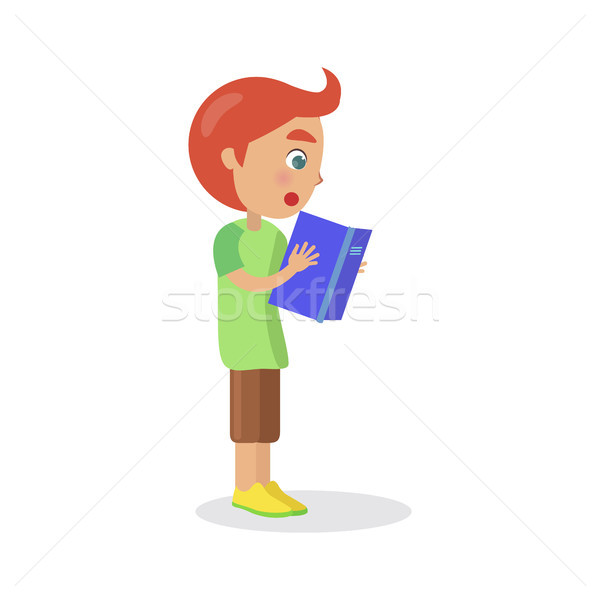 Profile of Redhead Boy with Textbook Reading Book Stock photo © robuart