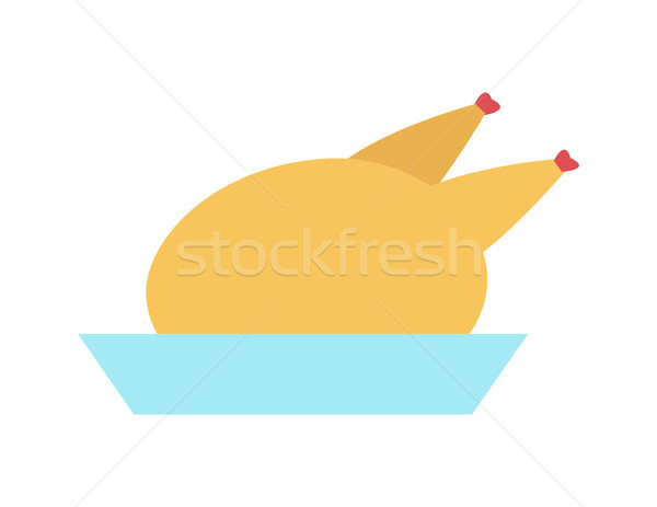 Turkey Blue Dish Delicious Holiday Crispy Poultry Stock photo © robuart