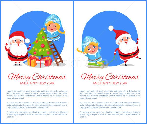 Merry Christmas Santas Life Vector Illustration Stock photo © robuart