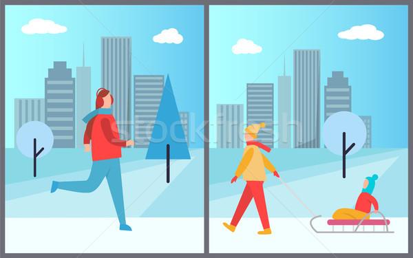 男 スキー 女性 子供 氷 座って ストックフォト © robuart