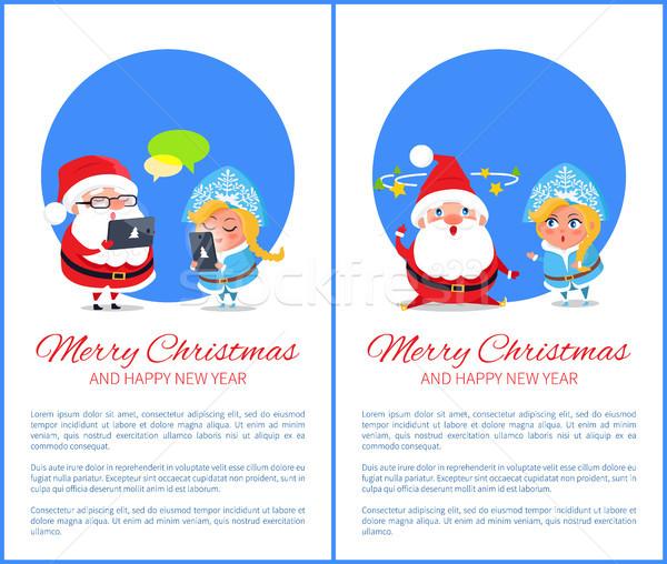 Merry Christmas Happy New Year Santa Snow Maiden Stock photo © robuart